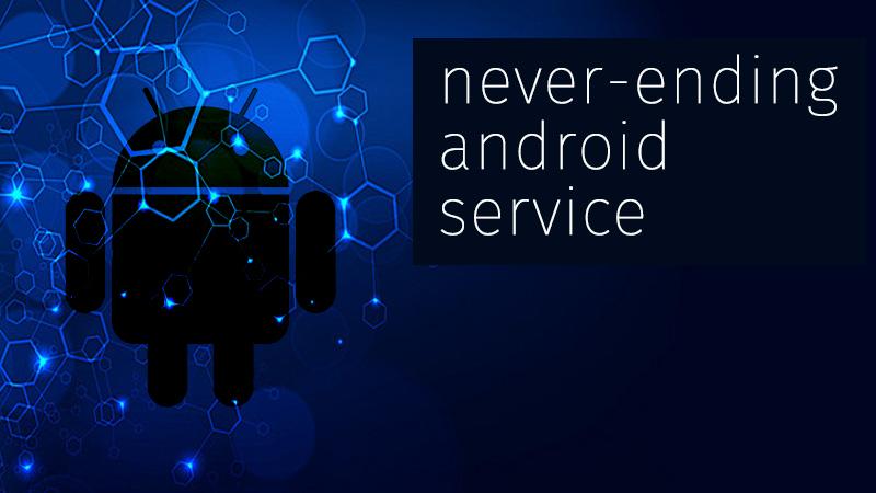 """logo android avec maille informatique avec la prescription """"never ending Android services"""""""