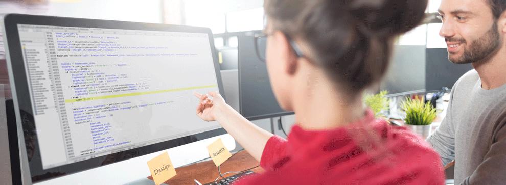 2 jeunes intégrateurs informatiques en train de travailler sur un projet