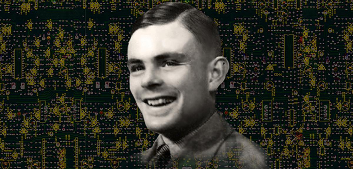 Portrait d'Alan Turing, l'un des fondateur de l'intelligence artificielle, avec des circuits imprimés en arrière plan