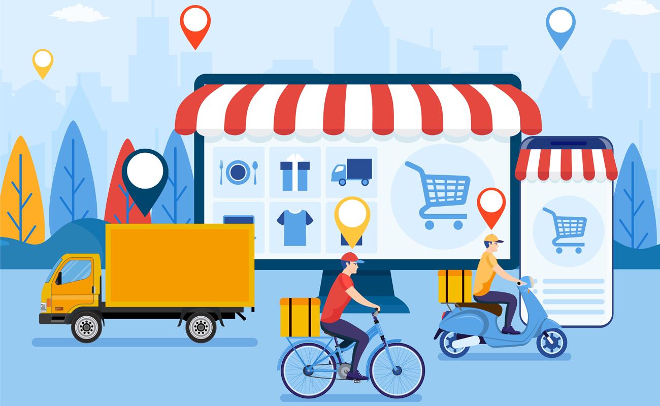 Caricature d'une boutique en ligne