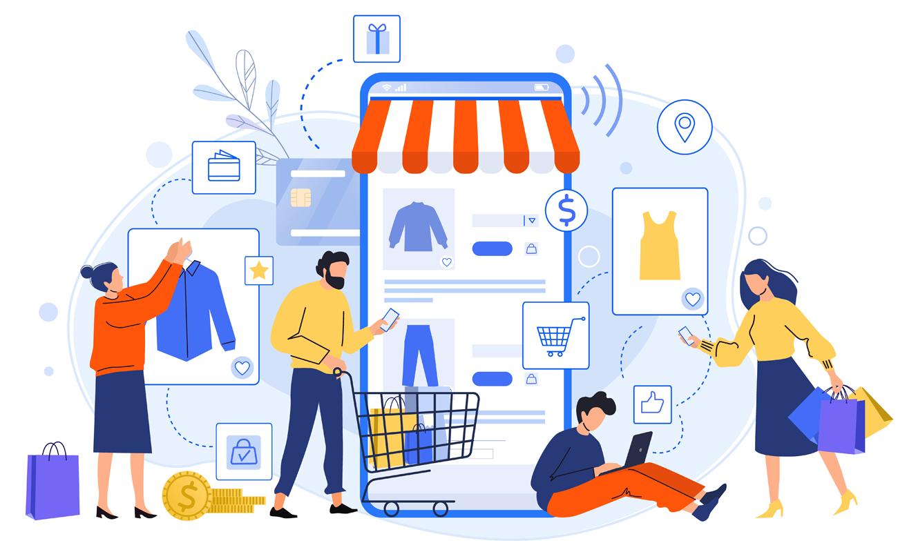 Caricature de personnes faisant des achats sur un site e commerce