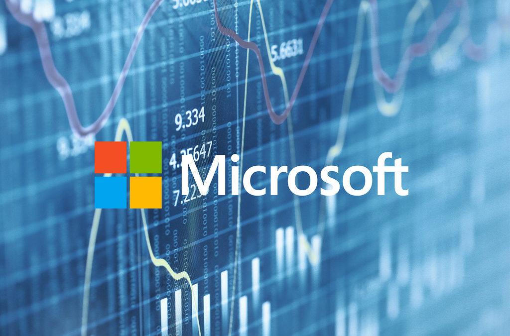 Logo de Microsoft avec un algorithme d'intelligence artificielle