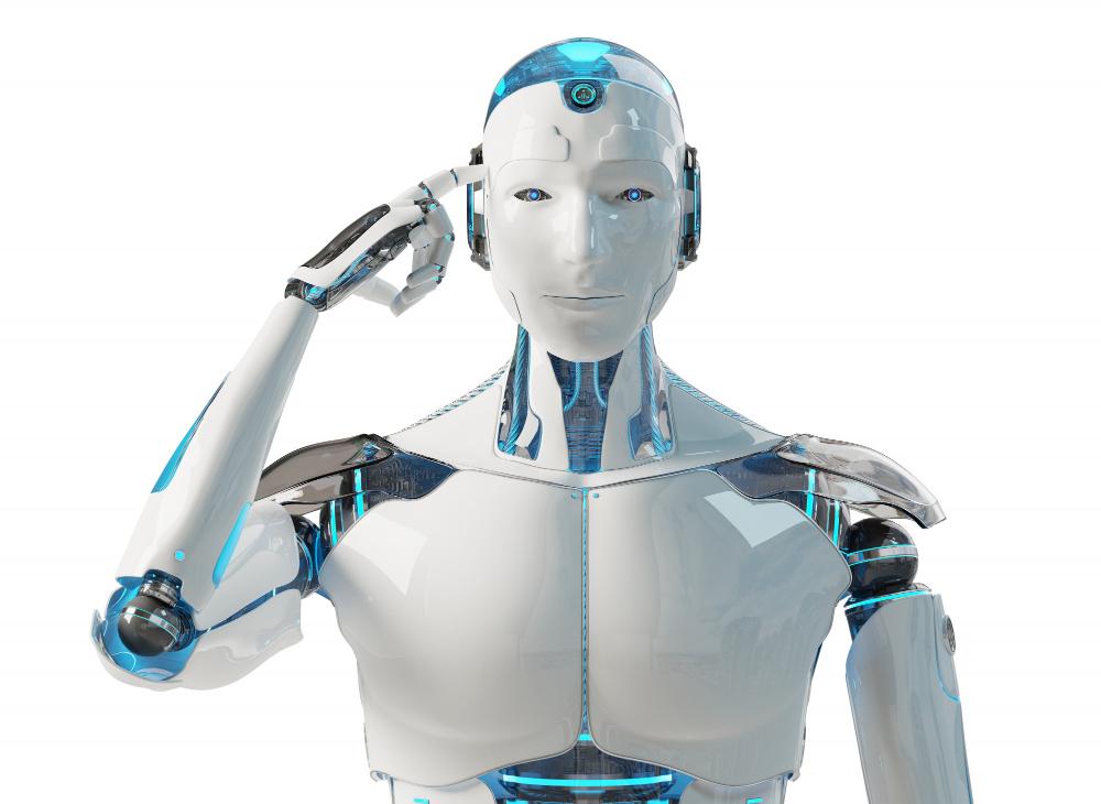 Un robot humanoïde dans une position de réflexion