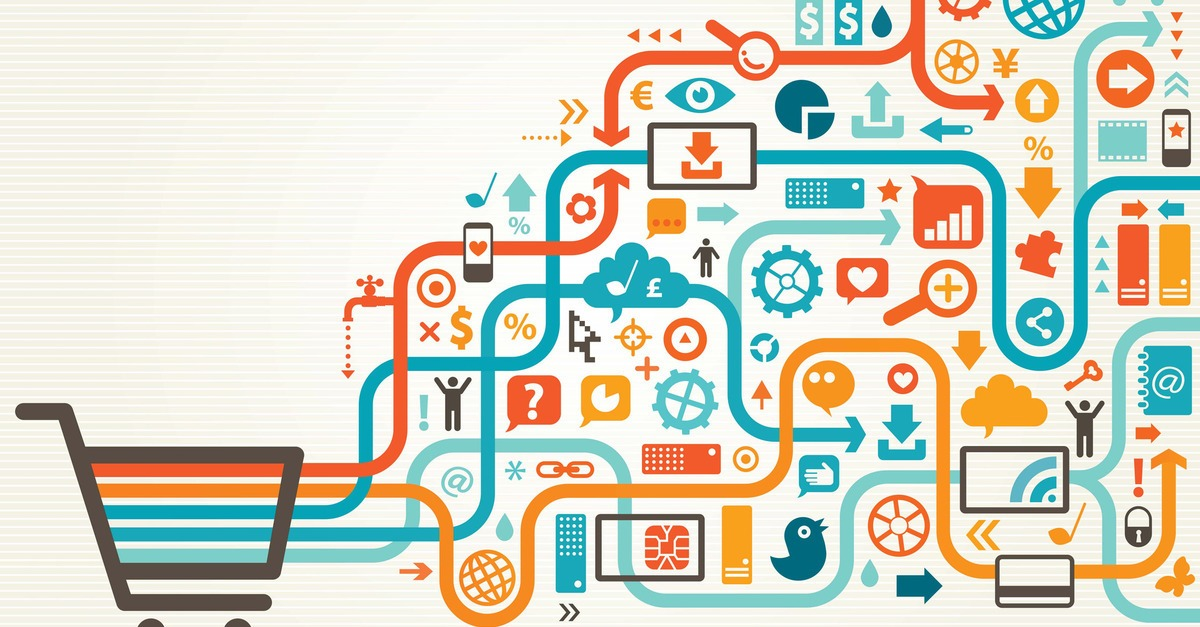 Caricature d'un chariot avec des symboles de Big Data