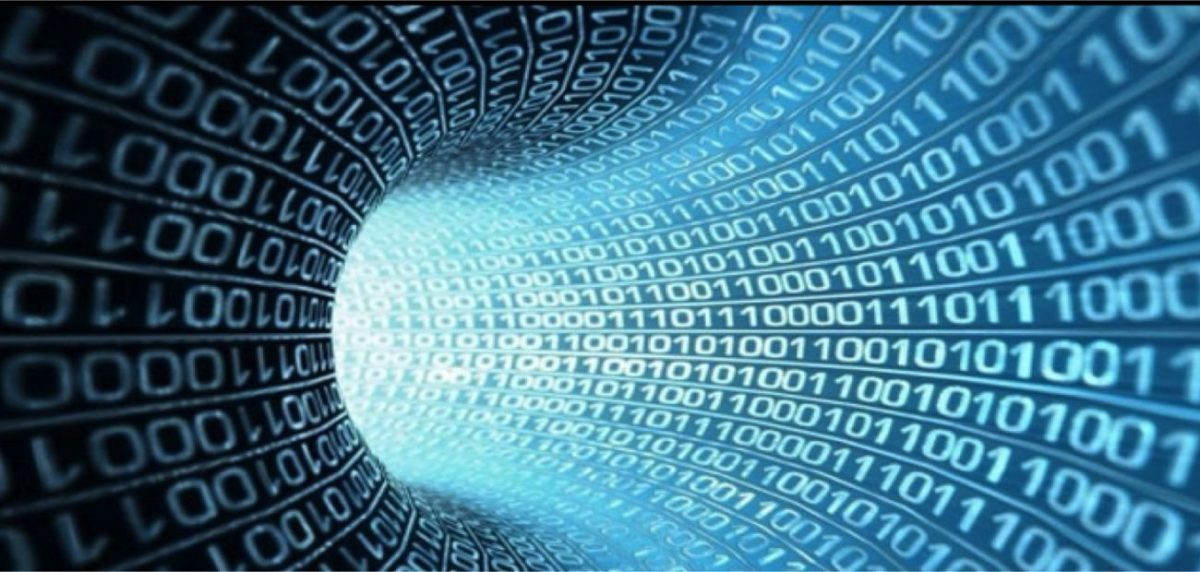 Un tunnel avec un code binaire