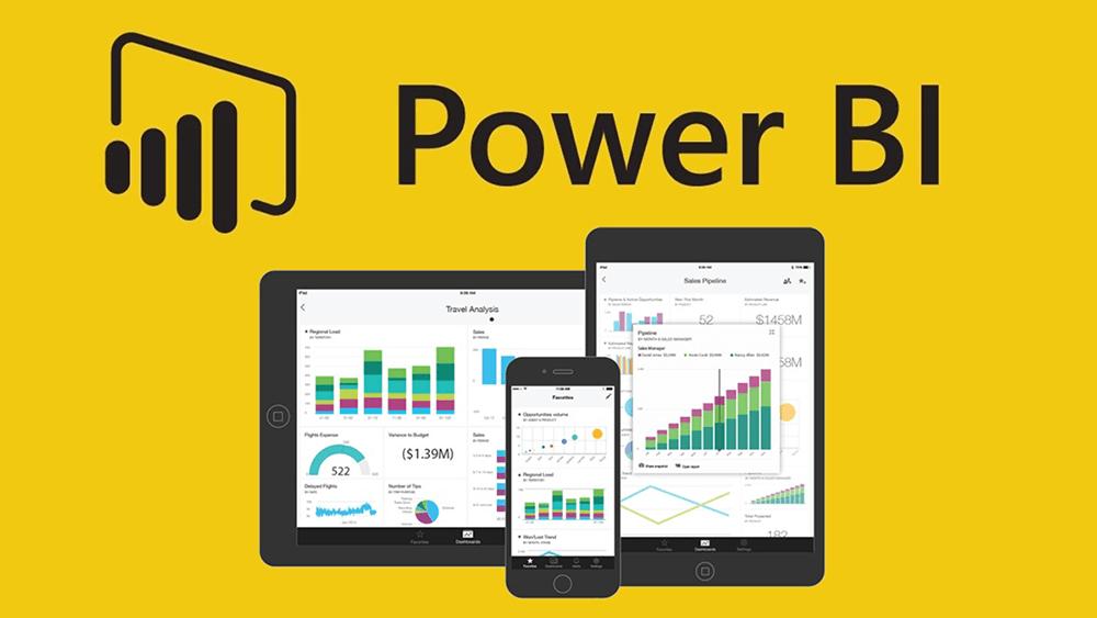 Une interface de Power BI sur tablette, smartphone et PC